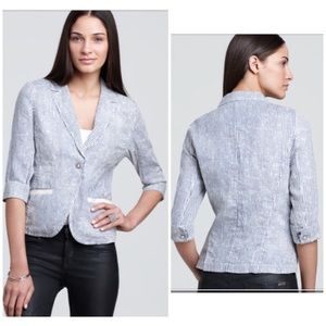 Michael Stars Striped Linen Blazer Jacket Sz S